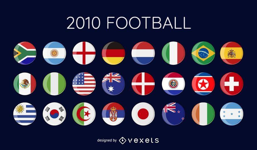 world cup 2010 football vector flags