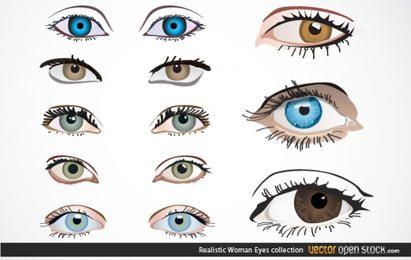 Coleção de olhos de mulher realista