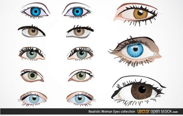 Colección de ojos de mujer realista