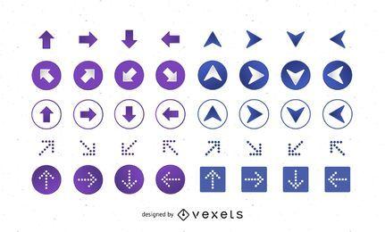 64 ícones de seta de vetor