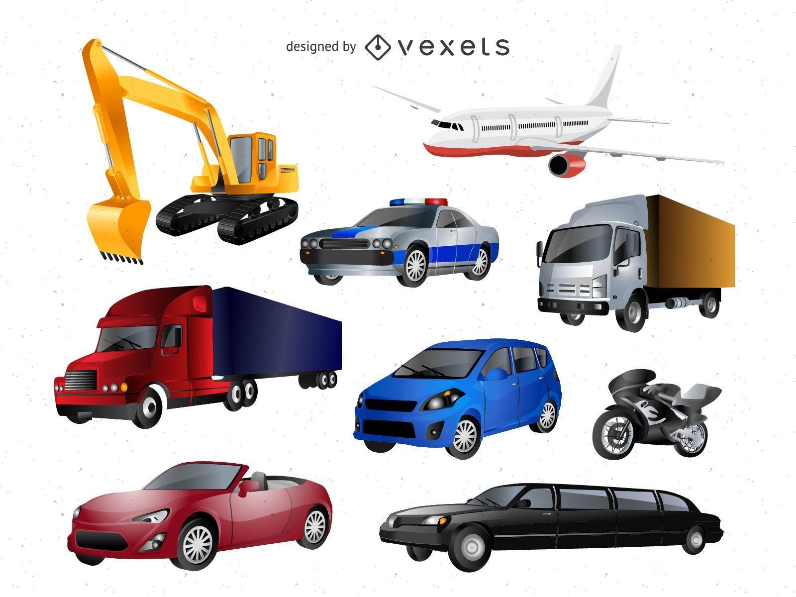 Paquete de iconos vectoriales de transporte