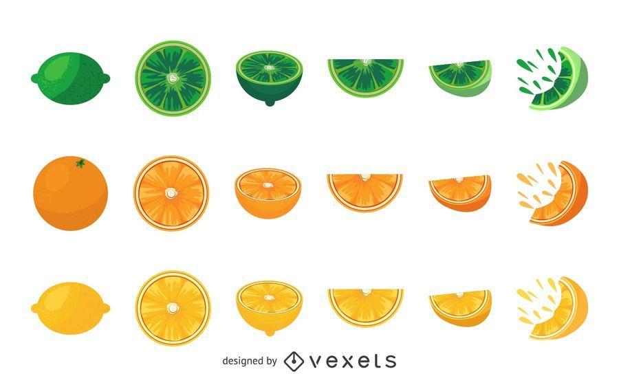 Orange lemon and lime illustrations set