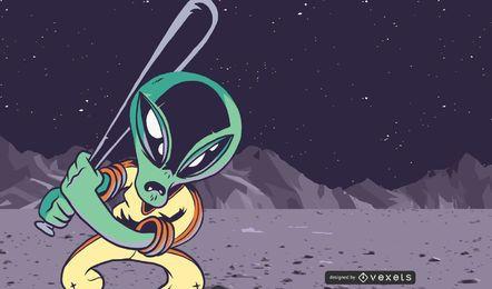 Vetor de personagem alienígena dos desenhos animados