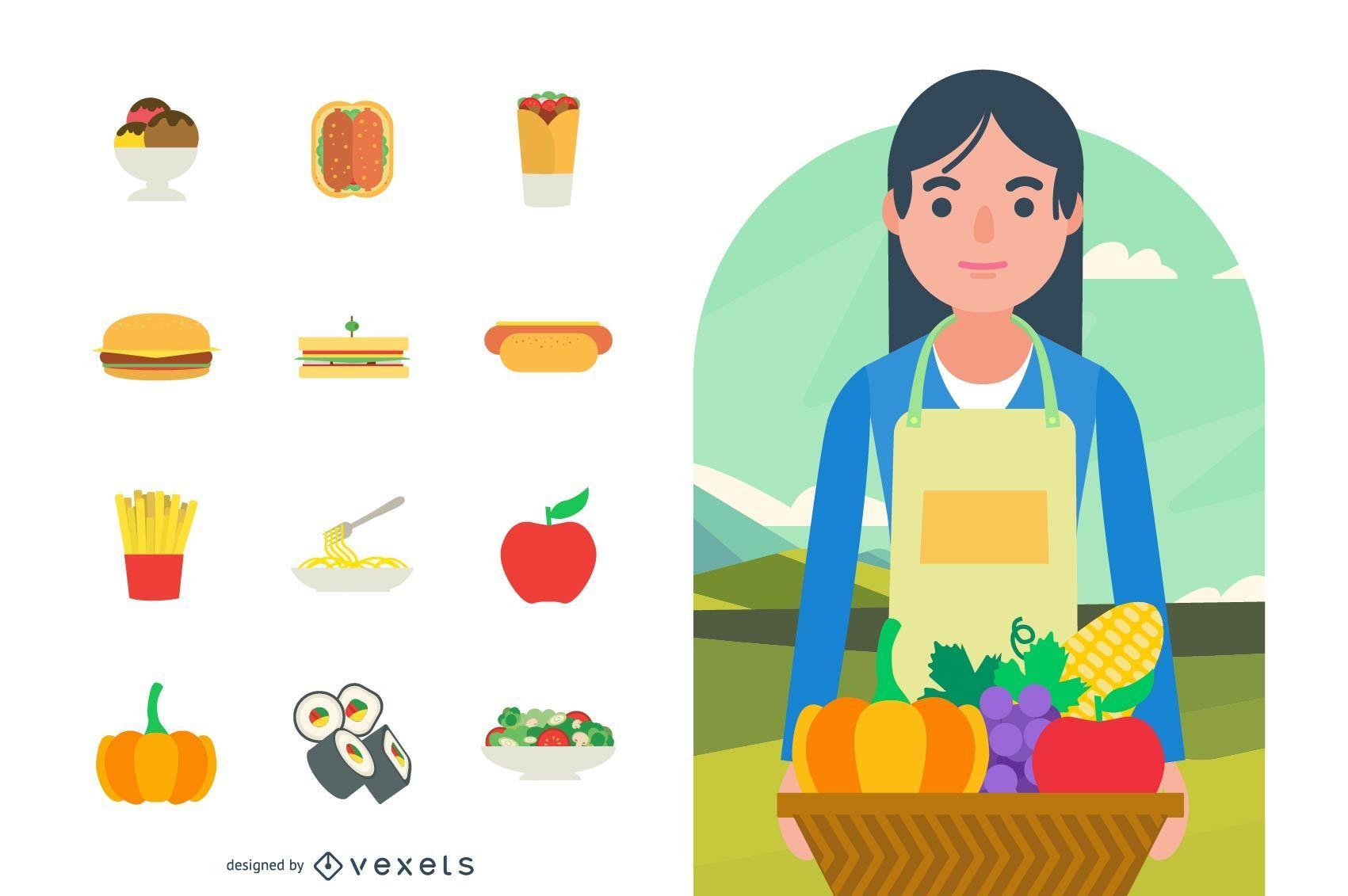 Gráficos vectoriales de comida y cocina
