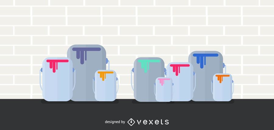 Vector de latas de pintura
