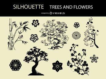 Árvores de silhueta de vetor e flores
