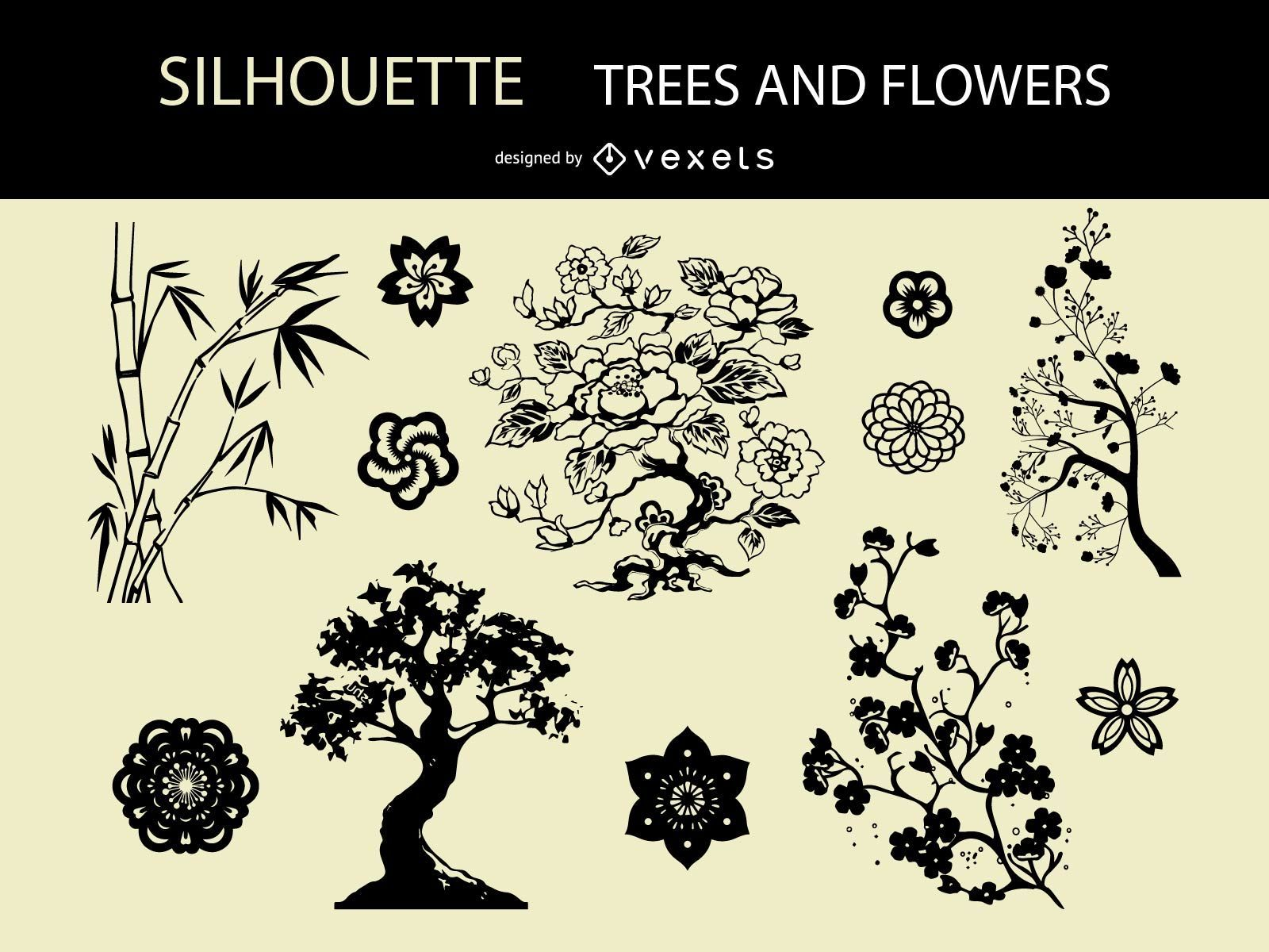 Vector Silhouette Trees and Flowers