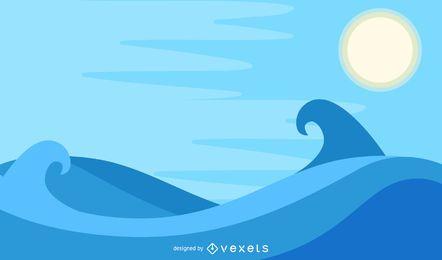 Vetor de praia abstrato azul