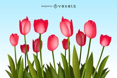 Tulpen-Blumenstrauß-Vektor