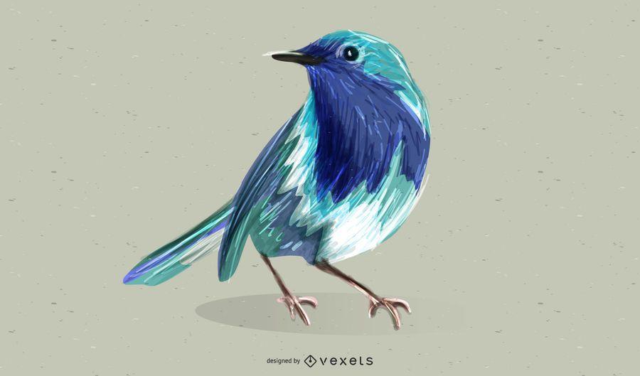 Personagem de vetor livre pequeno pássaro azul