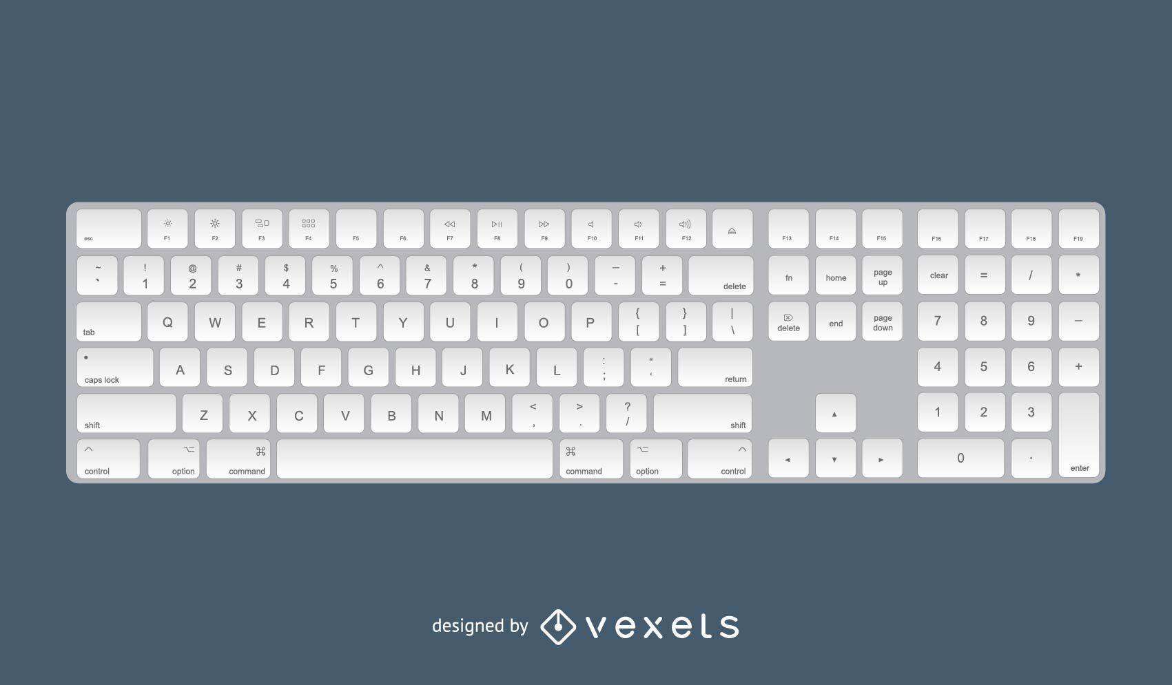 Design 3D do teclado Apple