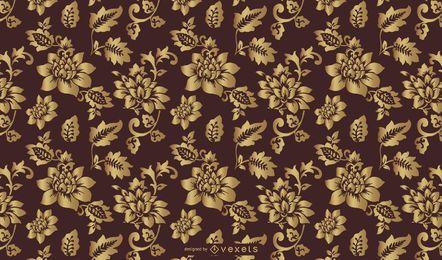 Arte floral de oro del modelo del vintage