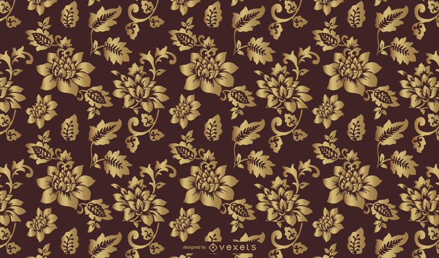 Golden Floral Vintage Pattern Art