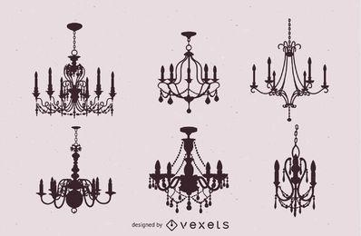 Seis candelabros antigos