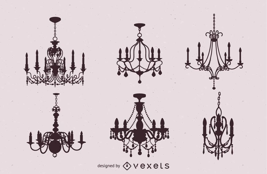 Six Vintage Chandeliers