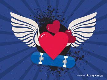 Corazones de San Valentín con alas de ángel