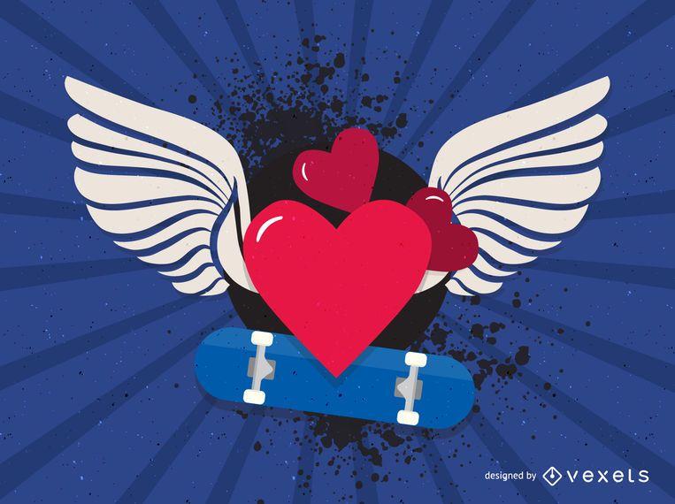 Corações dos namorados com asas de anjo