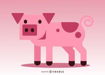 Piggy de vector cuadrado 3D