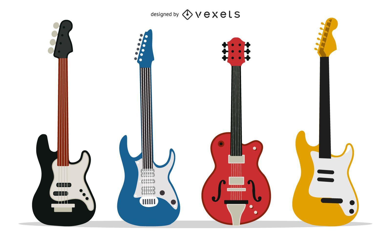 Varios vectores de guitarra