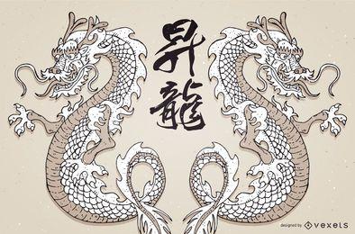 Vector dragón japonés