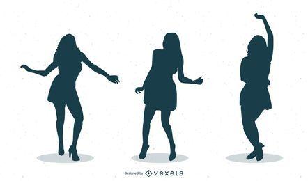 46 Mädchen tanzen Silhouetten