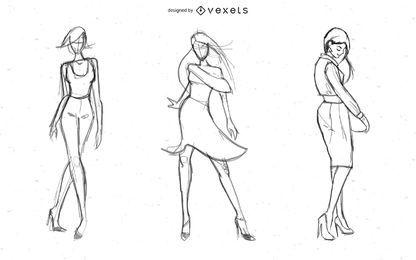 Senhora quente modelos vector