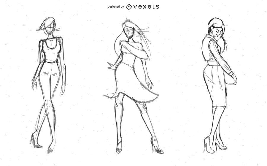 Hot Lady Models Vector