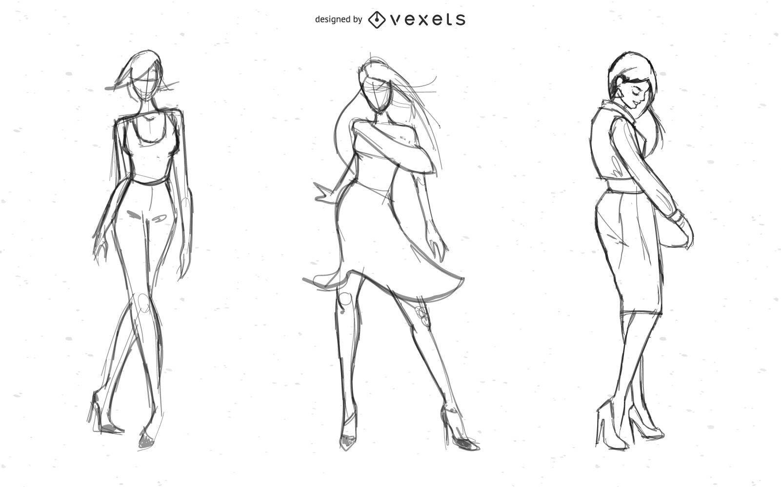 Vector de modelos de dama caliente