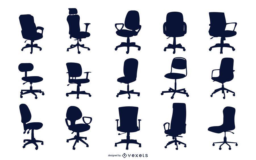 Colección de silueta de silla de oficina