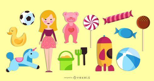 Conjunto de objetos de brinquedos infantis