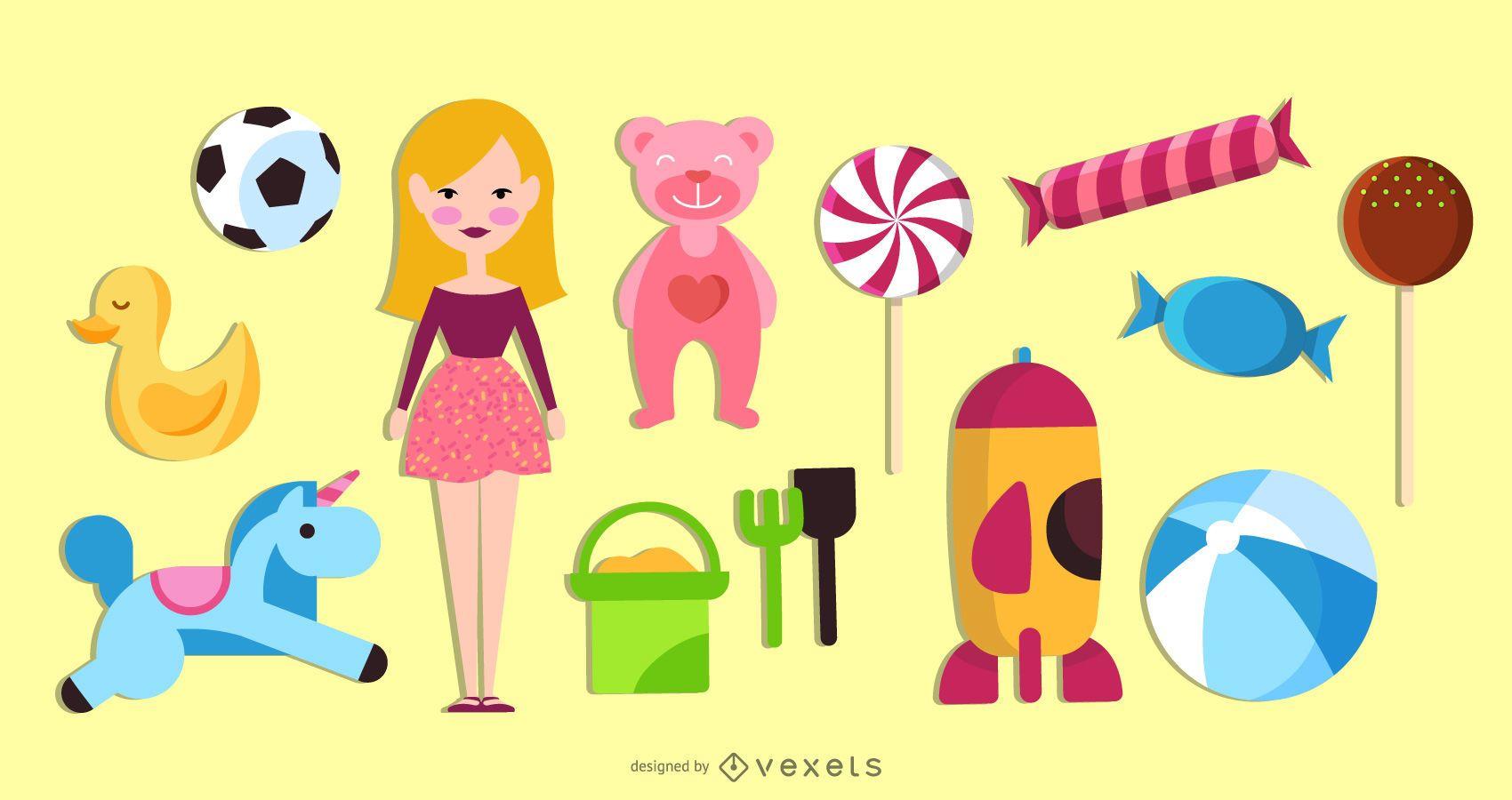Conjunto de objetos de juguetes para niños