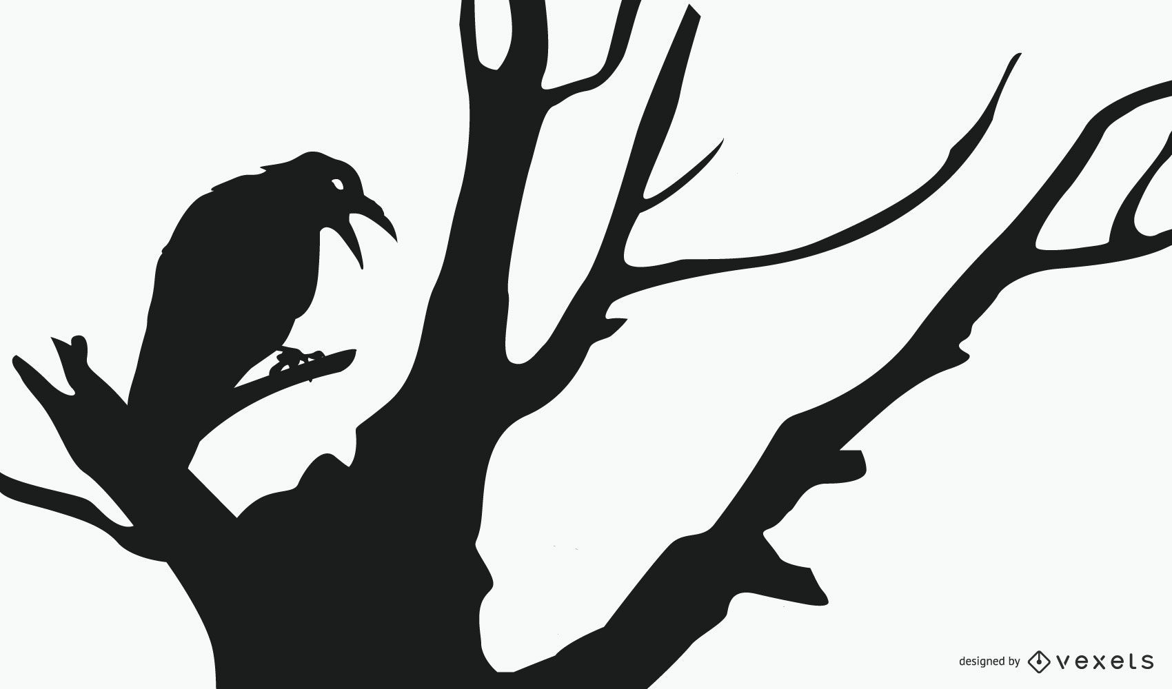 Crow In A Tree Silhouette Design