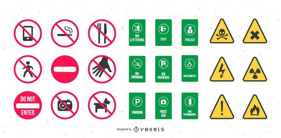 Vector saudável e sinais de segurança
