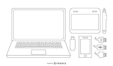 Vector de accesorios portátiles y tecnológicos