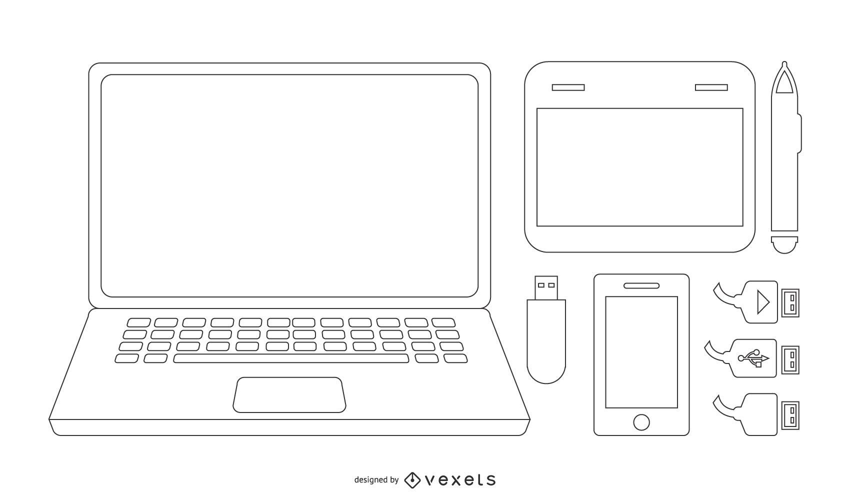 Notebook & Tech Accessories Vector