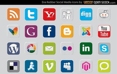 Ícones de mídia social de borracha EVA