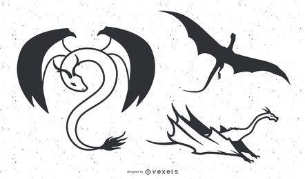 Dragão preto e branco de vetor