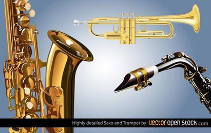 Saxo y trompeta altamente detallados