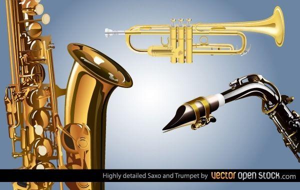 Saxo y trompeta muy detallados