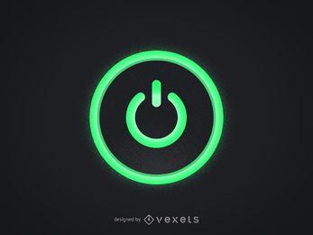 Botão verde de energia do computador