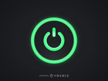 Botón verde de encendido de la computadora