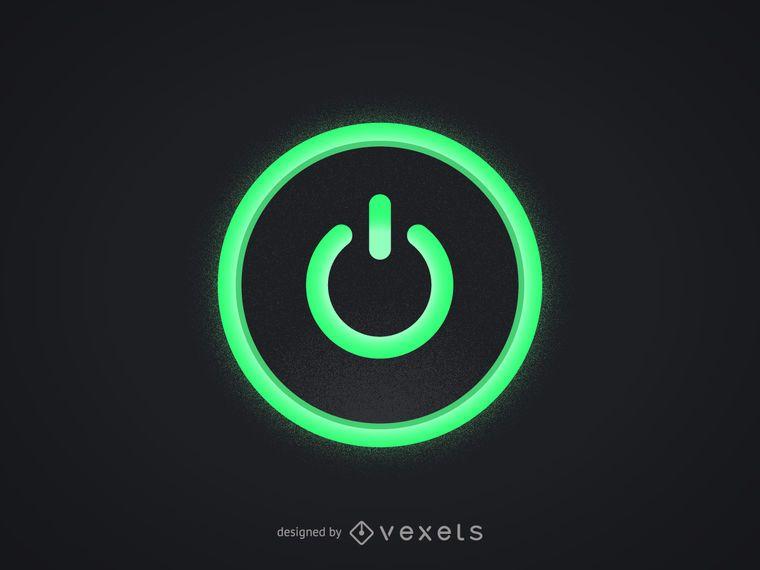 Green Computer Power Button