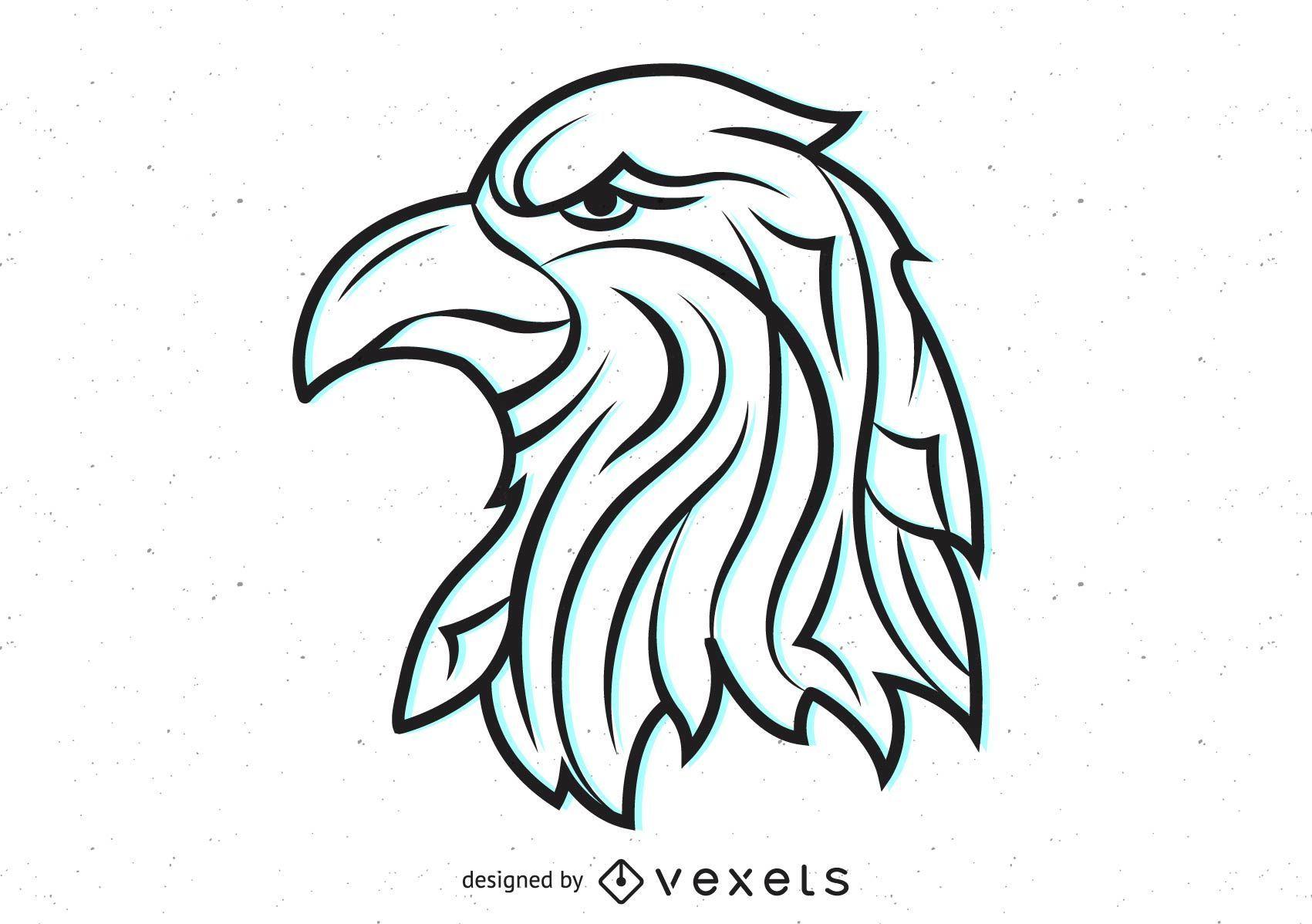 Vector cabeza de águila tribal