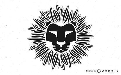 Cabeza de león tribal blanco y negro