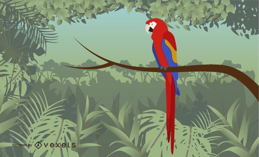 Vektor künstlerischer Guacamaya-Vogel