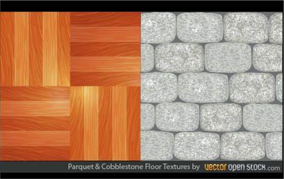 Texturas de piso de parquet y adoquines
