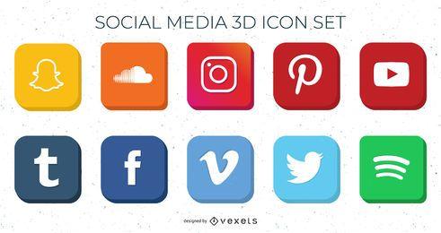 Paquete de iconos de redes sociales de alto detalle 3D