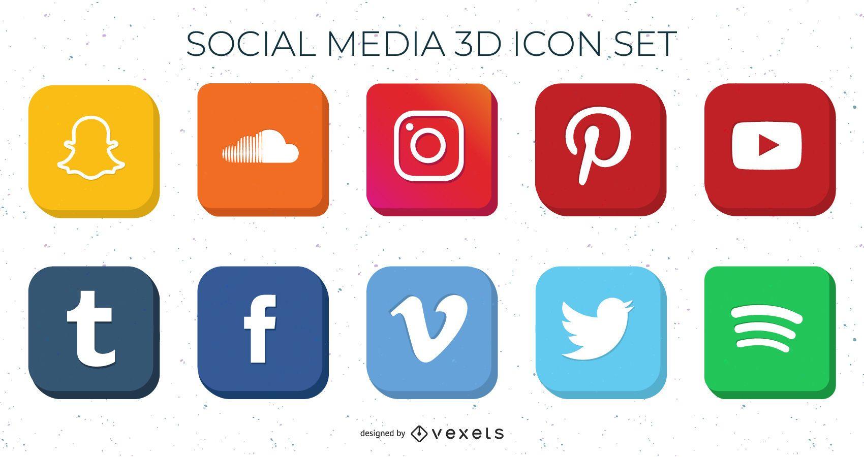 Pacote de ícones de mídia social 3D de alto nível