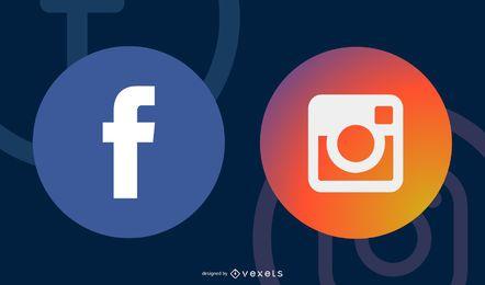 Bunter gerundeter Social Media-Ikonen-Satz