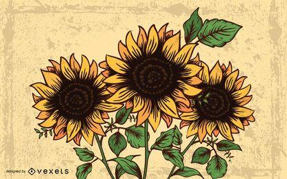 Sommertraumgestaltungsarbeit mit Sonnenblume